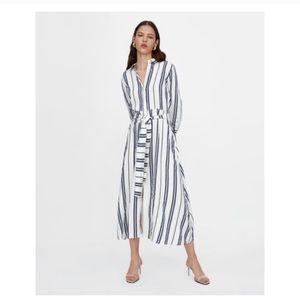 ZARA Cotton Linen Maxi Shirt Dress